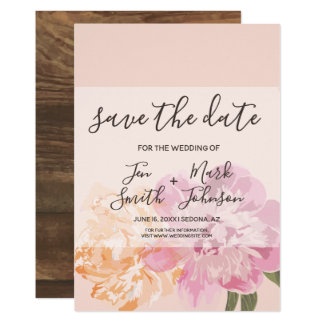 Watercolor Spring Flowers. Save The Date. Card