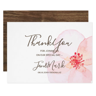 Watercolor Spring  Flowers. Wedding Thank You Card