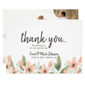 Watercolor Spring  Flowers. Wedding Thank You. Card