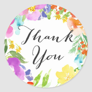 Watercolor Spring Flowers Wreath Thank You Sticker