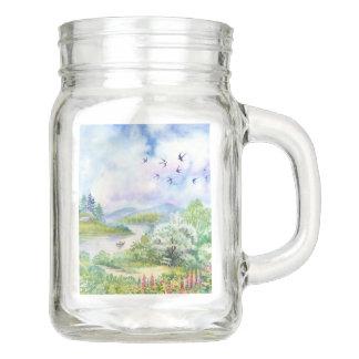 Watercolor Spring Scene Mason Jar