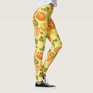 Watercolor Squash, Pumpkin and Leaves Pattern Leggings