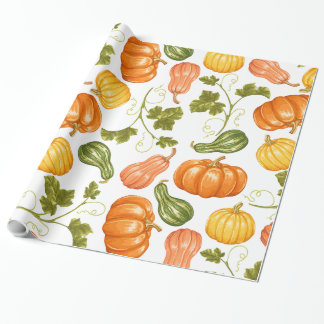 Watercolor Squash, Pumpkin and Leaves Pattern Wrapping Paper