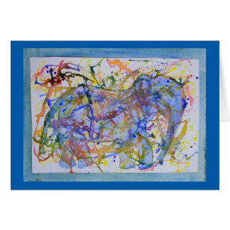 Watercolor Squiggle Elephant Card