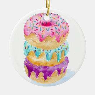 Watercolor stack of donuts ceramic ornament