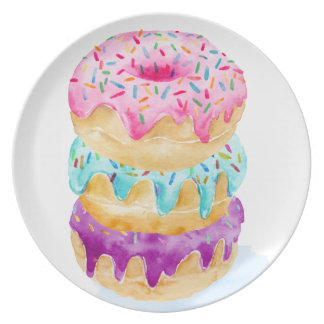 Watercolor stack of donuts dinner plates