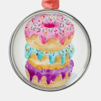 Watercolor stack of donuts metal ornament