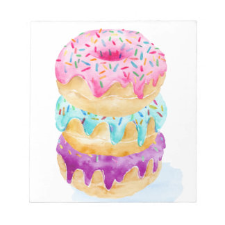 Watercolor stack of donuts notepad