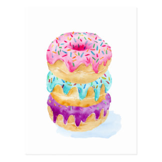 Watercolor stack of donuts postcard