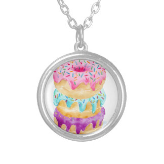 Watercolor stack of donuts silver plated necklace