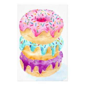Watercolor stack of donuts stationery