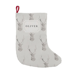 WATERCOLOR STAG(DOUBLE SIDE) SMALL CHRISTMAS STOCKING