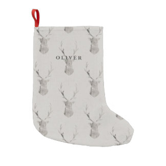 WATERCOLOR STAG SMALL CHRISTMAS STOCKING