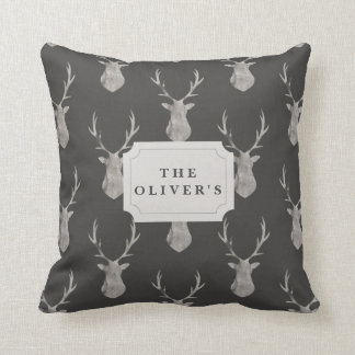 WATERCOLOR STAG THROW PILLOW