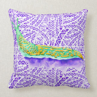 Watercolor Stained Glass Abstract Pattern Throw Pillow