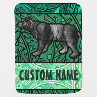 Watercolor Stained Glass Animal Custom Name Bear Baby Blanket