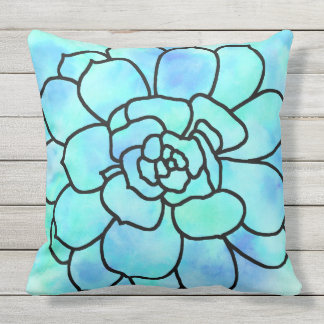 'Watercolor Stained Glass Succulent 2' Throw Pillow