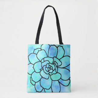 Watercolor Stained Glass Succulent 2 Tote Bag