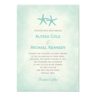 Watercolor Starfish Beach Wedding Invitation