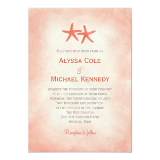 Watercolor Starfish Beach Wedding Invitation Coral