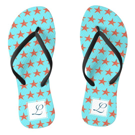 Watercolor Starfish Monogram Flip Flops