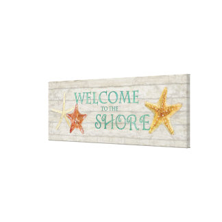 Watercolor Starfish Shells Beach Driftwood Welcome Canvas Print