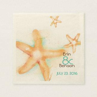 Watercolor Starfish Wedding Paper Napkins