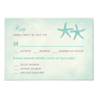 "Watercolor Starfish Wedding RSVP/Response Card 3.5"" X 5"" Invitation Card"