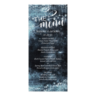 Watercolor Starry Night Celestial Wedding Menu Rack Card Template
