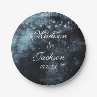 Watercolor Starry Night Celestial Wedding Monogram 7 Inch Paper Plate