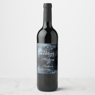 Watercolor Starry Night Celestial Wedding Monogram Wine Label