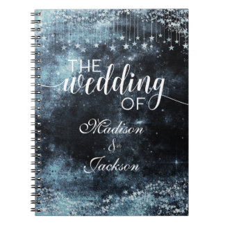 Watercolor Starry Night Celestial Wedding Planner Notebook