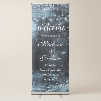 Watercolor Starry Night Celestial Wedding Welcome Retractable Banner