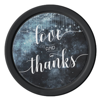 Watercolor Starry Night Galaxy Wedding Thank You Poker Chips