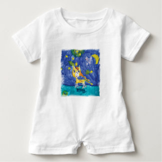 Watercolor Starry Night Pegasus with Bat Baby Romper