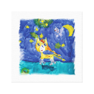 Watercolor Starry Night Pegasus with Bat Canvas Print