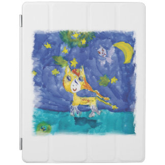 Watercolor Starry Night Pegasus with Bat iPad Cover