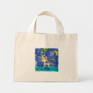 Watercolor Starry Night Pegasus with Bat Mini Tote Bag