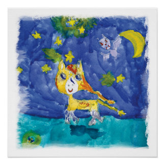 Watercolor Starry Night Pegasus with Bat Poster
