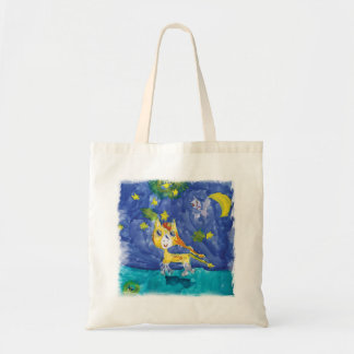 Watercolor Starry Night Pegasus with Bat Tote Bag