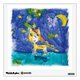 Watercolor Starry Night Pegasus with Bat Wall Sticker