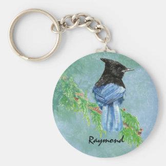 Watercolor Stellar Jay Bird Custom Name Nature Basic Round Button Keychain