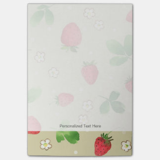 Watercolor strawberries pattern post-it notes