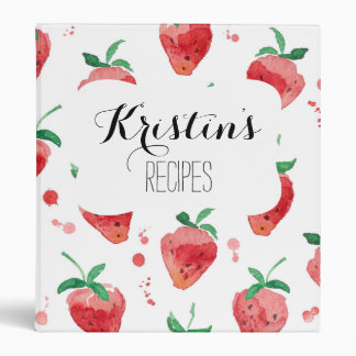Watercolor Strawberries Pink & Red Painted Berries Vinyl Binders