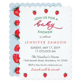 Watercolor Strawberry Baby Shower Invite