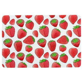 Watercolor Strawberry Floor Mat