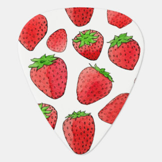 Watercolor Strawberry Guitar Pick