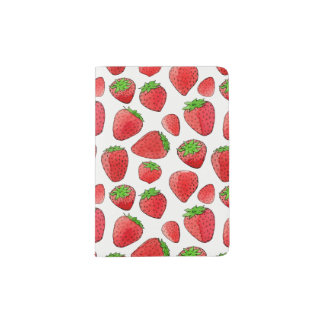 Watercolor Strawberry Passport Holder