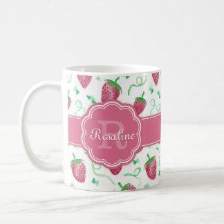 Watercolor Strawberry Pattern with Monogram Coffee Mug