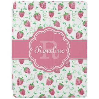 Watercolor Strawberry Pattern with Monogram iPad Cover